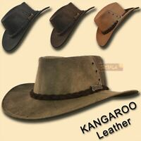 【oZtrALa】 KANGAROO Leather JACARU Hat Cowboy Outback Mens DrizaBone AUSTRALIAN ~