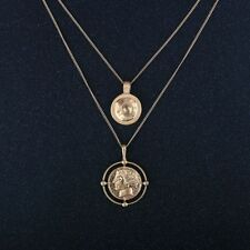 Neck Gold Color Ancient Pendant Necklaces Two Coin Double Layer Double Layered
