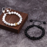 His And Her King Queen Crown 8mm Natural Stone Friendship Couple Bracelets Gift