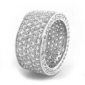 18K White Gold Out Iced Lab Diamond 11mm Silver Wedding Band ETERNITY Mens Ring