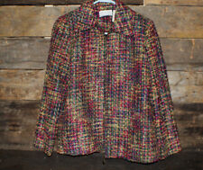Alfred Dunner Tweed Jacket Women's Size 6P Multicolor Checkered