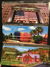 "3 Puzzle Lot Panoramic 350 Piece Jigsaw Puzzle 18.25"" x 7.25"" #7030 2 New 1 Used"