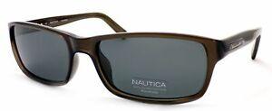 NAUTICA Polarized Sunglasses Dark Crystal Grey Frame with Grey Lenses N6165S 065