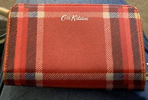 BNWT CATH KIDSTON CLARENDON CHECK TARTAN RUBY RED FOLDED ZIP PURSE MEDIUM WALLET