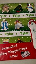 Personalized gift wrap wrapping Christmas xmas NIP Tyler green tree star wreath