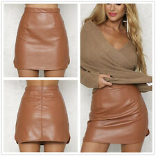 New brown wet look mini skirt club office party casual skirts Size UK 8
