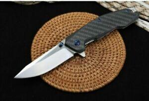 New S100 CNC D2 Blade Steel + Carbon Fiber Handle Ball Bearing Folding Knife