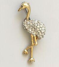 Vintage Ostrich Bird Brooch Pin enamel on metal