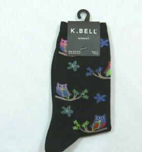 K.Bell Woman's Owls On A Limb High Cotton Blend Black Crew Socks Size 9-11