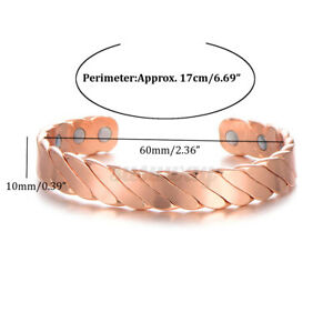 Magnetic Bracelet Neodymium Magnet Therapy Copper Bangle Pain Relief 15000  C