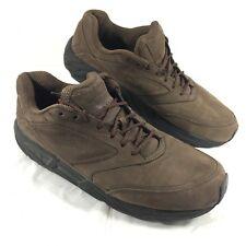 Men's used Brooks Addiction Walker Comfort Shoes Brown leather Sz 14 M