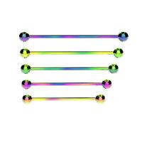 RAINBOW Industrial Scaffold Barbell Ear Piercing Bar Surgical Steel With BALLS