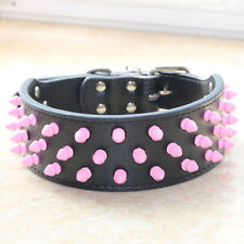 Leather Dog Collar Pink Spiked Studded Dog Collar for Large Dog Pitbull Terrier