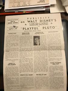 "Playful Pluto 1934 4 page 9x1/2x12"" Walt Disney Press Book Mickey Mouse Pluto"
