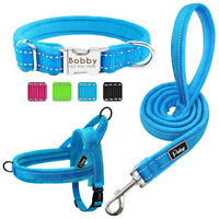 Winter Fleece Padded Dog Collar Harness and Leash Personalised Engraved Collar