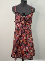Tigerlily Red Floral Cotton Dress Size 10 Racer Back EUC