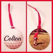 Personalized 2 Sided Christmas Ornament Golf Themed with your photo