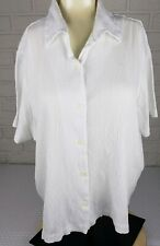 Blair Womens Button Down top Size 2XL white cotton polyester short sleeves