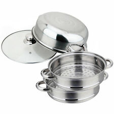 PRO Stainless Steel 3 Tier Steamer Induction Steam Steaming Pot Cookware 28cm
