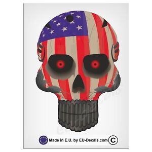 "120mm-4.7"" Robohead skull USA Flag red eyes Laminated Decal Sticker hotrod truck"