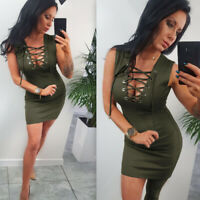 ❤️Women Sexy Lace Up V-neck Sleeveless Bodycon Mini Dress Evening Clubwear Party
