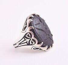 Islamic Silver Yemen agate hand engrave aqeeq akik Ring-شفة العبد
