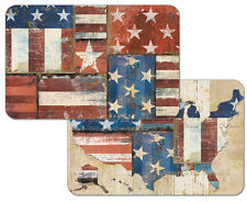 Patriotic Patchwork USA America Decofoam Reversible Plastic Placemat Set ~ Set/4