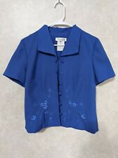 Miss Dorby 6p petite loose threads embroidered loop buttons blue blazer