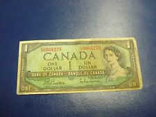 1954 - Canada $1 bank note -Canadian one dollar bill - FZ6864279 - Bleed through