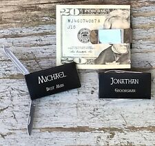 Personalized Engraved Money Clip Knife Groomsman Groomsmen Best Man Gifts Black