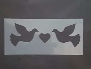 Shabby Chic Dove & Heart Stencil Mylar Rustic Birds Vintage Arts Crafts Painting