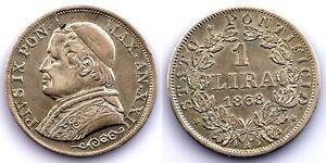 Vaticano-Pio IX. 1 Lira 1868. EBX-/XF-. Plata 5 g.