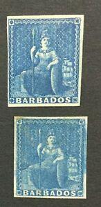 MOMEN: BARBADOS SG #3-4 1852-5 BLUE PAPER MINT OG H LOT #192547-1207
