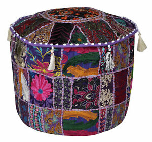 New Indian Vintage Ottoman Floor Pouf Cover Cotton Footstool Handmade Patchwork