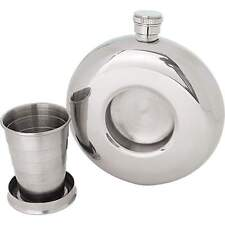 Maxam 8.5oz Round Stainless Steel Flask with Built-In Shot Glass