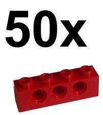 Lego 50 rote Techniksteine 1x4 mit Loch (3701) Neu Steine in rot red bricks