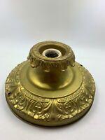 """Antique Art Deco Brass Light Fixture Ceiling Flush Mount vintage round single 8"""""""