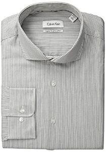 Calvin Klein Men's Regular Fit Grey White Stripe, Asphalt, 16.5 34/5