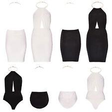 Patternless Polyester Halter Neck Dresses for Women
