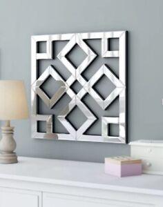 """Modern Wall Mirror Square Geometric Glam Hall Unique Lattice Style Accent 20x20"""""""
