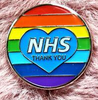 NHS Rainbow Thank You Heart Enamel Lapel Pin Badge Key Workers Nurses Brand New