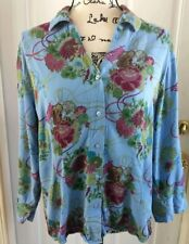 Tianello Blue Floral Button Down Art to Wear 3/4 Sleeves Womens Size Large
