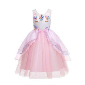 ELSA & ANNA® Girl Fancy Dress Snow Queen Princess Unicorn Dress Costume UN2106-P