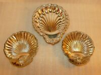 Lot of 3 Scalloped Shell silver plated small butter nut dish tray candy sauce