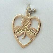 9K 9ct Yellow Gold Irish Ireland Clover Shamrock in Heart Charm Pendant 1.8gr