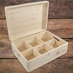 Large Plain Wooden Storage Chest Box With Removable Compartments Lid & Handles