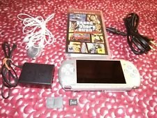 Sony PSP 3001 Playstation Portable Metallic Silver charger game headphones sd