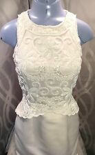 Champagne Formal Long Fitted Wedding/Mother Bride Dress Sz US 4-6 Small