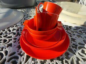 Job lot Vintage Melamine Melaware Mepal Encore Gaydon Burt Orange Camping Plates