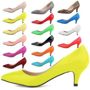 WOMENS LADIES KITTEN LOW MID HEEL WORK CASUAL SMART COURT SHOES PARTY PUMPS SIZE